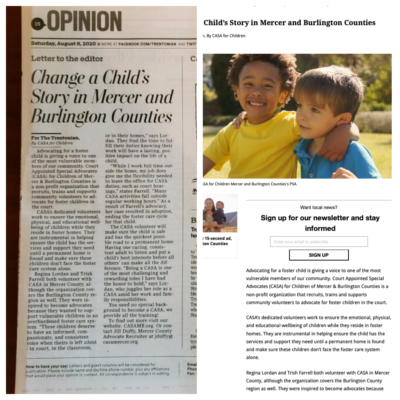 Screenshot of Change a Child's Story in Mercer and Burlington Counties article
